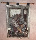 Boyds Bears Home Sweet Home Collectible TAPESTRY WALL HANGING w Rod
