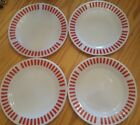 Hazel Atlas Red Candy Stripe Glass 8 7/8 Inch Plate Set of Four