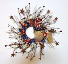 HANDMADE PRIMITIVE PATRIOTIC WREATH-UNCLE SAM-PIP BERRIES-by lavender-n-aqua
