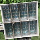 Set 8 Vintage LIBBEY Mid Century PARTYTIME GLASSWARE SET Blue Green Gold NOS Box