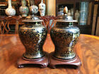 A Pair Rare Chinese 19th C Mirror Black and Gilt Porcelain Temple Jars.