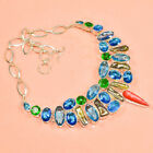 Red Coral ,  Peal,Swiss Blue,Peridot 925 Silver Gemstone Jewelry Necklace 16-18""