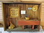 Vintage Shadow Box Carved Scene Wood Cabin Interior  Wooden Wall Hanging