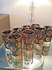 8 VINTAGE HIGH BALL GLASSES COLD COIN AND BLACK TEXTURE LIBBEY MID CENTURY