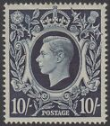 GB KGVI 10s Dark Blue SG478 Ten Shillings George VI 1939 Mint Hinged Stamp 10