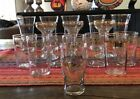 Vintage Lot Libbey Glass Gold Band RETRO Cocktail Glasses 1950's 1960's (16 pcs)