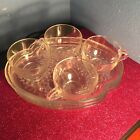 Adorable Vintage Federal Glass Snack Sets, Real Beauties!!! Cup and Saucer.