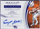 EARL CAMPBELL 2016 Immaculate Collection AUTO Autograph SSP 2 5 TEXAS LONGHORNS