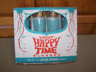 Vintage 8 Happy Time Glasses Anchor Hocking Turquoise from the 1960's