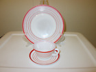 White Multi Stripe Dinner Plate, Cup and Saucer Trio