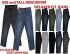 MEN BIG AND TALL RAW DENIM JEAN RELAXED FIT BLACK JEAN PANTS 44 54