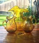 Vintage Cracked Amber Glass Pitcher Set