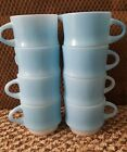 7 ANCHOR HOCKING FIRE KING Blue Mosiac Stacking Coffee Cups Mugs 1 Creamer Vtg