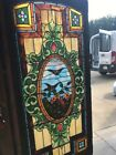 An Antique Painted And Fired Chunk Jewelflower Bird Landing Window 36.5 X 78.25