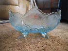 VINTAGE JEANETTE ICE BLUE LOMBARDI CENTERPIECE BOWL, PERFECT, HEAVY, RARE COLOR