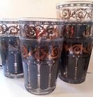 Mid Century Glass Tumblers (7), Gray Gold Florentine Cocktail Liquor Barware