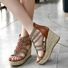 Women Wedge Heel Strappy Sandasl Shose Open Toe Roman Style Platform Side Zip