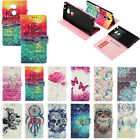Luxury Painted Card Flip PU Leather Stand Case Wallet Cover For Moto Sony Phone