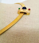 Slide Pendant Choker Necklace Wide Omega Chain Gold Plated Glass Jewel Cabochon