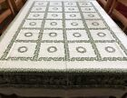 Vintage GERMAN Green Figural Floral 62x78 Tablecloth  8 Napkins RF844