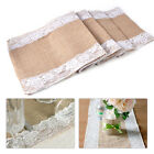 HOT Burlap Wedding Table Runner Natural Jute Lace Trimmed Decoration 108 x 11