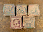 Prim 1900s ANTIQUE Vintage SET 5 FLAT EARLY WOODEN ABC BLOCKS Toy EMBOSSED #11