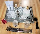 Mirror Vanity Tray Crystal Glass Perfume Bottle Butterfly Beauty Glam Makeup 12p