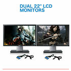 Matching DUAL LARGE DELL Ultrasharp 22 Widescreen LCD Monitors w cables Gaming