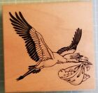Rubber Stamp PSX Stork with Delivery Baby Shower
