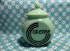Jadeite Green Glass Art Deco Black Letter Grease Jar with Lid in Excellent Cond