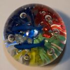 Minchella Murano Blue Fish  Colorful Reeds Glass Paperweight w Label  Orig Box