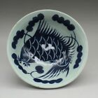 Chinese antique hand-carved Blue and white porcelain fish pattern bowl c01
