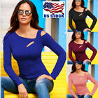 Women Long Sleeve Cut Out Cold Shoulder Top Ladies Bodycon Casual T Shirt Blouse