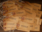 100 SMALL word VINTAGE PRIMITIVE HANDMADE coffee stained HANG TAGS LOT A35