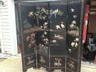 Asian 4 Panel Black lacquered Coromandel Screen carved and painted #2