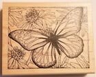 Rubber Stamp Peddler's Pack Butterfly and Flowers Background Large