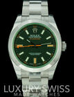 Rolex Mens Milgauss 116400 GV Stainless Steel 40mm Green Crystal Black Dial