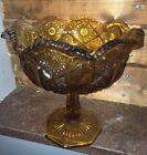Vintage Footed PEDESTAL Candy Dish BOWL AMBER GLASS DIAMOND CUT DESIGN (AT)