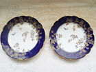 PAIR ANTIQUE OVINGTON BROTHERS FLOW BLUE SCALLOP PLATES BUTTERFLY CHINESE DESIGN