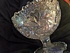 Vintage Imperial Glass Whirling Star Clear Punch Pedestal Bowl Eggnog Fruit 1900