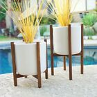 PAIR OF CERAMIC WALNUT QUAD BASE PLANTERS MODERN - MID CENTURY EAMES ERA STYLE