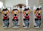 4~VINTAGE CLEAR GLASS HAPPY SAD CLOWN DRINKING GLASS TUMBLER 1950s/60s CIRCUS
