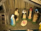 Vintage Sears Trim Shop Nativity Set Wooden Stable + 11 Figures 71 97169 w box