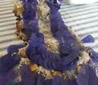 Antique Silk Lace Bead Gold Purple Sequin Victorian Dress Trim Applique VTG Sew
