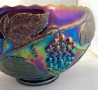 L.E. Smith Gorgeous Grapes Iridescent Carnival Glass Punch Bowl with Stand