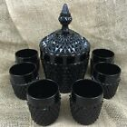 VTG 6 Old Fashioned Glasses Ice Bucket Cameo Black Diamond Point Tiara Indiana