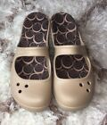 WOMENS CROCS SHOES WEDGE HEEL MARY JANE FRONT/OPEN BACK SIZE 7 Tan!