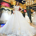 Luxury A line lace Long tail high craft bride wedding dress custom size 6810++