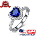 Womens White Gold Plated Heart Blue Sapphire Cubic Zirconia Engagement Ring