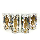 CULVER Glass * MARDI GRAS * Gold Jeweled Highball Glasses x4 * jester harlequin
